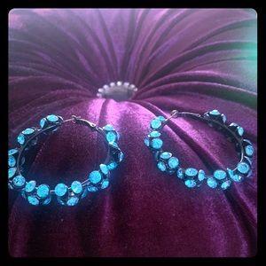 Blue crystal hoop earrings